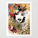 retro girl Art Print