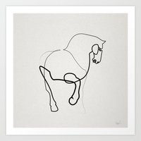 One line horse 0905 after a Tang Dynasty Tomb Pottery Art Print