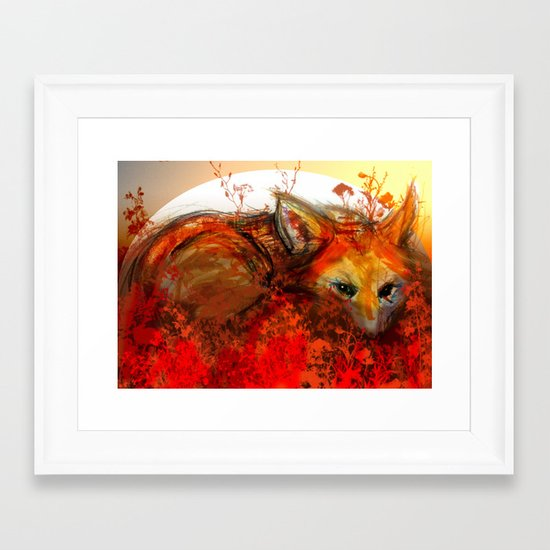 Fox in Sunset III Framed Art Print