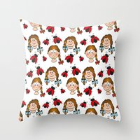 Girls and ladybirds pattern Throw Pillow