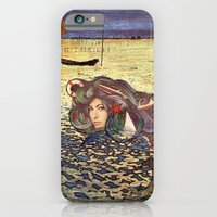 iPhone Cases featuring The Mermaid by Angela Bruno