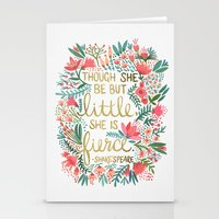 typography Stationery Cards featuring Little & Fierce by Cat Coquillette
