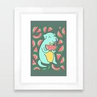 Watermelon Dog Framed Art Print