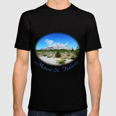 Mount St. Helens. National Park near Seattle, U.S.A. Black SMALL Mens Fitted Tee