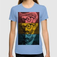Hipster Van Gogh Womens Fitted Tee Tri-Blue SMALL