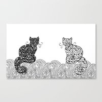 Black Cat White Cat Canvas Print