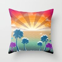 Golden Silver and Sunshine Throw Pillow