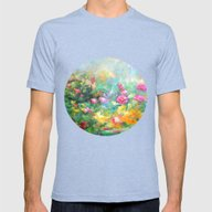 Roses Paint  Mens Fitted Tee Tri-Blue SMALL
