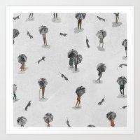 Running through the rain2 Art Print