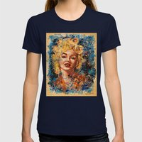 blonde bombshell Womens Fitted Tee Navy SMALL