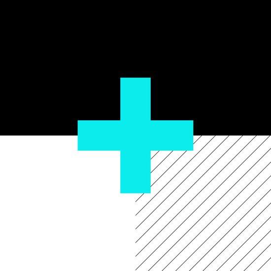 Neon Cross (Blue) // Neon Plus (Blue) Canvas Print