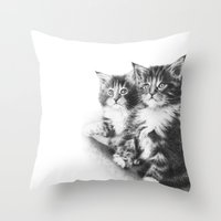Double Dose of  Kittens Throw Pillow