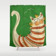 Cat - green Shower Curtain