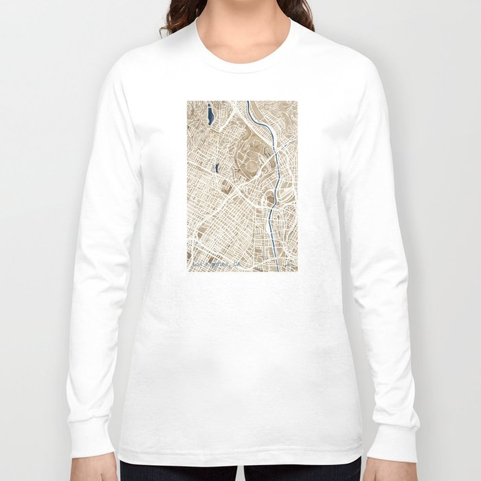 Los Angeles California City Map Long Sleeve T Shirt By