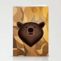 Camouflage gradient bear selfie Stationery Cards