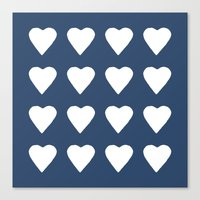 16 Hearts White On Navy Canvas Print