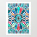 Iridescent Watercolor Brights on White Art Print