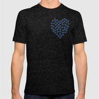 Hearts Heart Red On Navy Mens Fitted Tee Tri-Black SMALL