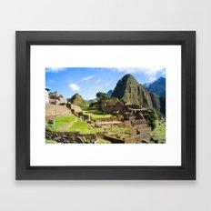 Machu Picchu Textured Framed Art Print