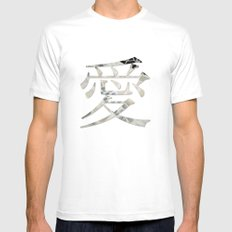 Love SMALL White Mens Fitted Tee