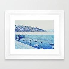 Frozen Lake of Kastoria Framed Art Print