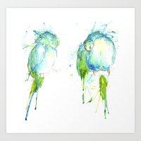 Budgie Series - Preening… Art Print