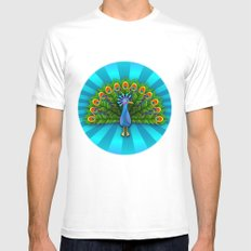 Peacock in Blue Rays Mens Fitted Tee SMALL White