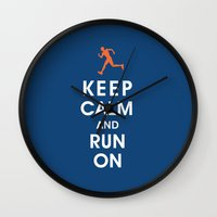 Keep Calm and Run On (male runner) Wall Clock