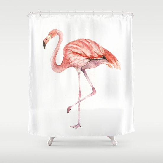 Pink Flamingo Shower Curtain by Goosi | Society6
