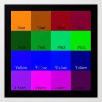 Blue, Pink, Yellow, Gree… Art Print