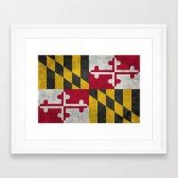 State flag of Flag of Maryland - Vintage retro style Framed Art Print