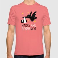 Ninjas are born at night Mens Fitted Tee Pomegranate SMALL