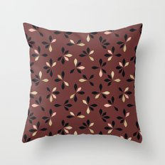 loves me loves me not pattern - oxblood Throw Pillow