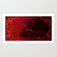 Art Print featuring Kabuto with Mempo by LocalMadMAn