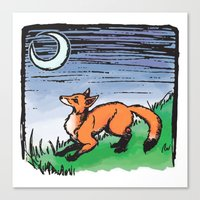 Fox and the Moon Canvas Print