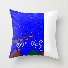 Santa and His 9 Tiny Reindeer Throw Pillow