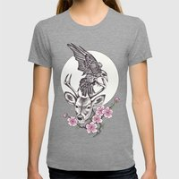 Raven Moon Womens Fitted Tee Tri-Grey SMALL