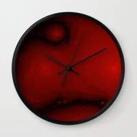 Red Fractal Wall Clock