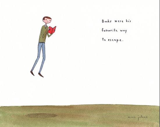 books were his favourite way to escape Art Print