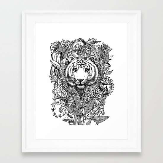 Tiger Tangle in Black and White Framed Art Print