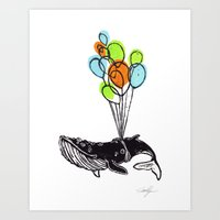 Balloons Whale Art Print