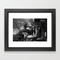 A rainy day is black and white Framed Art Print