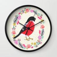 Bullfinch By Andrea Laur… Wall Clock