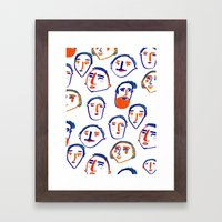 head, faces, face print, face art, people illustration,  Framed Art Print