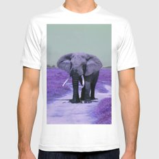 Bull Elephant in Purple Mens Fitted Tee White SMALL
