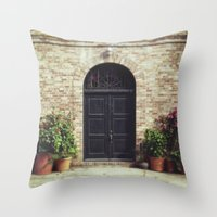 Courtyard Door Throw Pillow