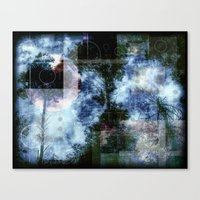 forest memories in blue with Abstract shapes Canvas Print