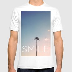 Palm tree Smile Mens Fitted Tee White SMALL