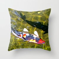 Koi with Shadow Throw Pillow
