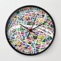 A map of Paris Wall Clock